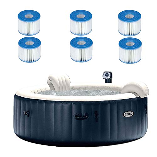 Intex 28409E PureSpa 6 Person Home Outdoor Inflatable Portable Heated Round Hot Tub Spa 85-inch x 28-inch with 170 Bubble Jets, Built in Heat Pump, and 6 Type S1 Filter Cartridges
