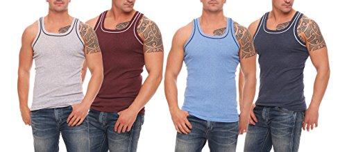 4 Stück farbige Herren Unterhemden, Gr. 6 - Pack 2 - hellgrau/Bordeaux - hellblau/dunkelblau, Achselhemden, farbig, super weich, Feinripp