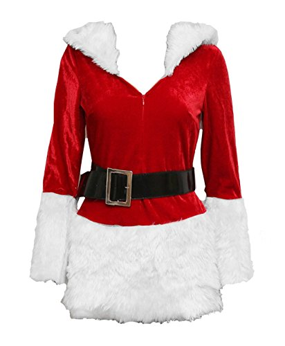 Bslingerie Christmas Mrs. Santa Claus Women Zip Up Costume Outfit (S, White)