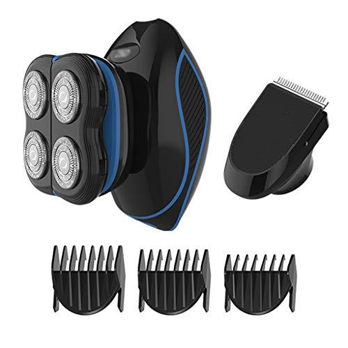 Afeitadora Eléctrica Multifunción para Hombres, Afeitadoras para Hombres Calvos Kit de Aseo Eléctrico para Afeitadora de Barba de Afeitar Rotativa IPX7-Impermeable, USB Inalámbrico Rápido Recargable