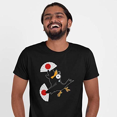 Okiwoki T-Shirt Noir Baka Baka parodique Manga Style : Le Corbeau Baka Baka Fait la Fiesta - (Version Solo) ! (Parodie Baka Baka)