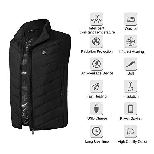 Electric Heating Vest Men's Heated Jacket Sleeveless USB Charge Warm Body Breathable Lightweight Coat Clothing Outdoor Sporting, Washable(XL-Black)