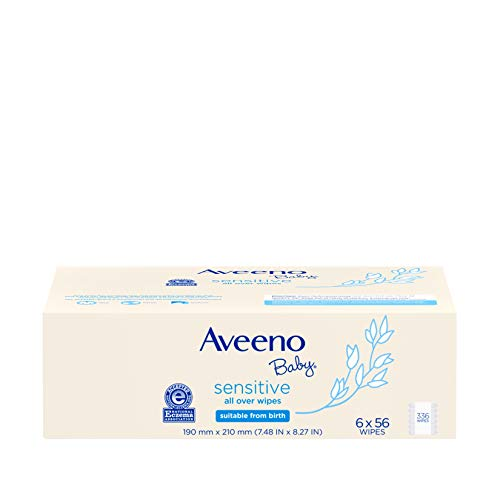 Aveeno Baby Sensitive All Over Wipes, Hypoallergenic & Fragrance-Free, 6 Pack of...