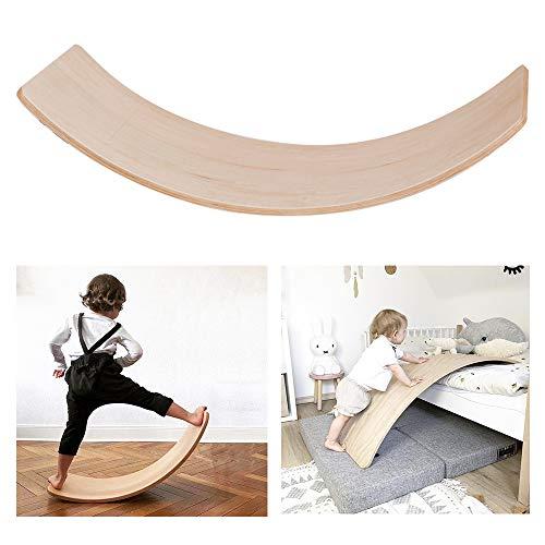 HOXMOMA Kinder Holz Balance Balance Board, Nicht verblassende Buche Balance Board, Gebogenes Yoga Brett, Rocker Board für Kleinkinder Teenager Erwachsene