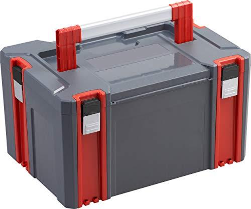 Connex Systembox - Größe L - 34 Liter Volumen - 80 kg Tragfähigkeit - Individuell erweiterbares System - Stapelbar - Aus robustem Kunststoff / Stapelbox / Werkzeugkiste / COX566202