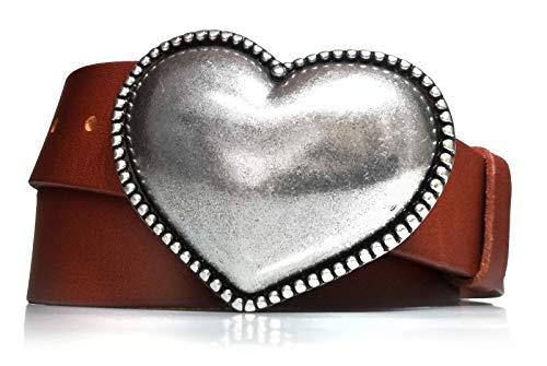almela - Cinturón de mujer - Piel legítima - Cuero - 4 cm de ancho - Hebilla Corazón en plata vieja - 40mm - Jeans, vestidos, camisas anchas