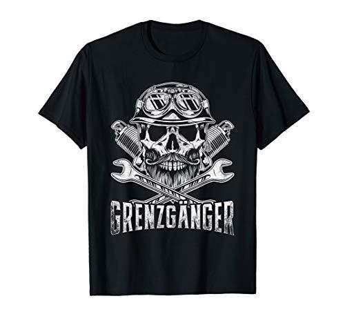 Grenzgänger Totenkopf Motorrad Chopper Bike Skull Geschenke T-Shirt