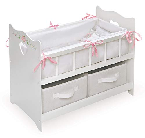 Doll Crib with Two Baskets and Free Personalization Kit (Fits American Girl Dolls) - Gray/White