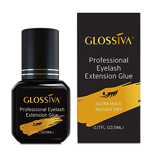 Glossiva Extra Strength Eyelash Extension Glue - Black Adhesive/for Semi-Permanent Extensions - Long Lasting, Strong Hold (5ml)
