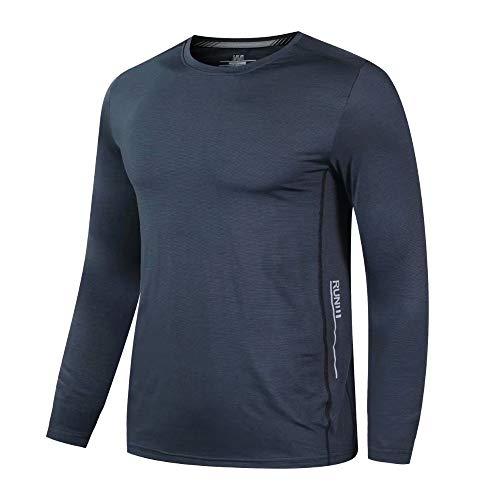 Herren Running Langarmshirts Schnelltrocknend Fitness Tops Reflektierend Sport Shirts