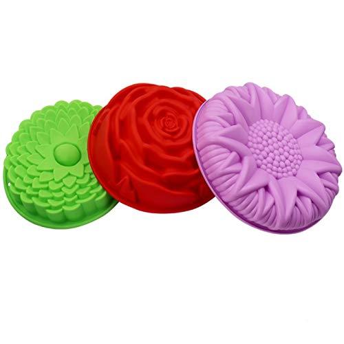 GODPAJ Molde de silicona con forma de flor de crisantemo, girasol, rosa, molde para horno, molde para horno, molde para hornear de 3 piezas
