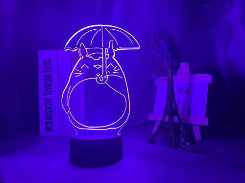 Valentinstag HYJapanese Anime Mein Nachbar Totoro öffnet einen Regenschirm für Kinder Mädchen Geburtstagsgeschenke Schlafzimmer Led Nachtlicht 3D Folie DUYAO00