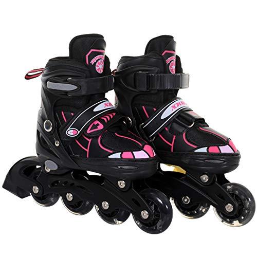 Blingko Inline Skates Kinder Unisex Einstellbarer Größe Rollschuhe In Line Light Wheel Skates Mit Leucht PU Räder Dreifach Schutz Leichte Anfänger Rollerskates für Mädchen/Jungen