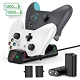 Xbox Controller Charging Station, Vivefox Xbox One Controller Charger with 2 x 1200mAh Rechargeable Battery Packs Compatible for Xbox One/One X/One S/Xbox One Elite Wireless Controllers