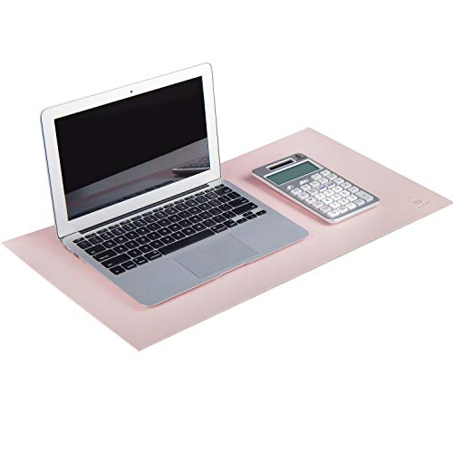 """OFFIDIX Desk Pad Protecter 12""""x24"""",Office Desk Mat Non-Slip PU Leather Desk Mouse Pad Laptop Desk Mat, Waterproof Desktop Gaming Writing Mat for Office and Home(Pink)"""
