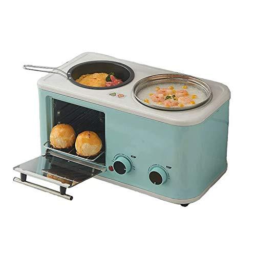 Wgwioo Máquina De Desayuno Portátil Multifunción 3 En 1, Mini Horno Eléctrico, Estación De Desayuno Familiar para Hornear, Freír, Cocinar Al Vapor, Cocinar,Azul