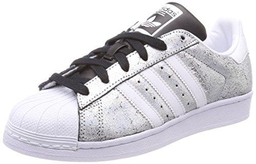 adidas Superstar W, Scarpe da Fitness Donna, Argento (Supcol/Ftwbla/Negbas 000), 36 2/3 EU