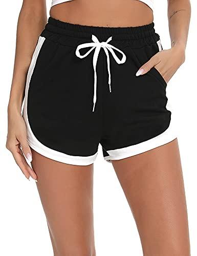 Doaraha Pantalones Cortos Deportivos para Mujer Shorts de Deporte Pantalón Corto Algodón Cintura Alta con Bolsillo Lateral Chándal Yoga Casual Gimnasio (Negro, XL)