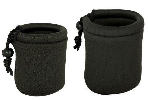 2 Pack Micro Lens Pouch for Leica, Micro Four Thirds, Fuji X-Pro 1, Sony NEX, Pentax Q, Nikon 1 Lenses - Small, Medium