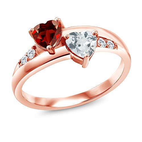 Gem Stone King 1.1カラット 天然 ガーネット 指輪 リング レディース 天然 アクアマリン 合成ダイヤモンド シルバー925 ピンクゴールドコーティング
