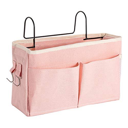 Fenteer Multifunktionell natt caddy natt förvaring väska klassificerad förvaring för universitetsrum, barns våningar säng natt hängande förvaring organisatör – rosa