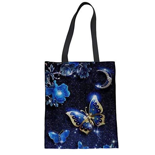 Showudesigns Baumwolltasche zum Basteln mit Griffen, Schmetterling, blau, faltbare Einkaufstaschen für Frauen, wiederverwendbare Einkaufstasche, Strandtasche, Schultertasche, Handtasche