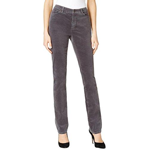 Charter Club Womens Petites Lexington Corduroy Straight Leg Pants Gray 14P