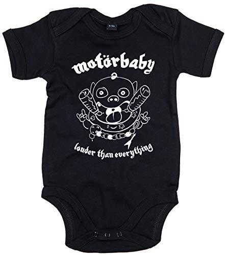 Racker-n-Roll MOTÖRBABY Louder Than Everything - Body para bebé, color negro Negro 0-3 Meses