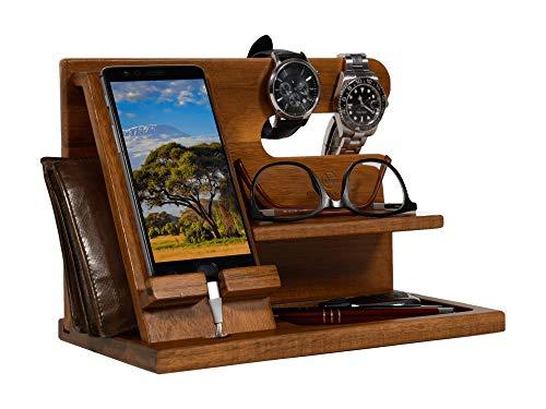 LUXWOOD Schreibtisch Organizer aus Holz - Handy Halter mit Ablage [Einzigartig] | Bürobedarf Tisch Zubehör | Desk Gadgets Ordnungssystem | Schlafzimmer Deko Bett Dekoration | Docking Station Geschenk