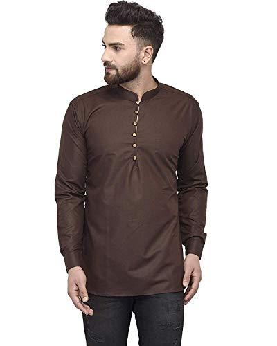 Crocon Herren Baumwolle Kurz Kurta Kleid Hemd Indische Mode Kleidung Regular Fit Tunika Gr. M, braun