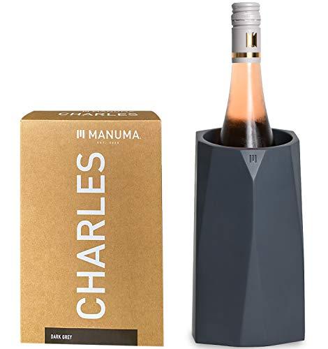 MANUMA® Design Weinkühler aus Beton - Premium Sektkühler hält Wein, Sekt und Champagner stundenlang kühl - Hochwertiger Flaschenkühler - (Patentiertes Design) - Anthrazit Grau
