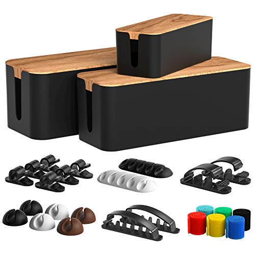 Cable Management Box 3 Pack with 16 Cable Clips Set-Large & Medium & Small Wooden Style Cable...