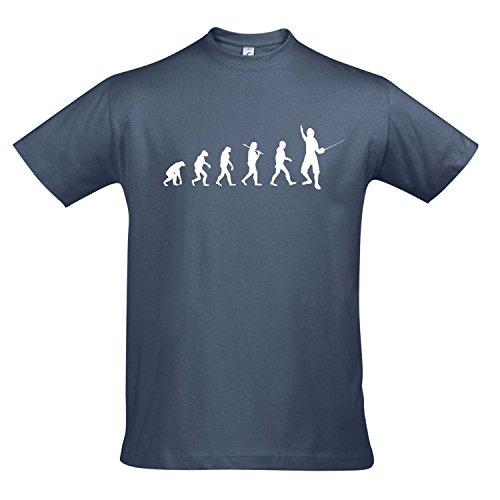 T-Shirt - EVOLUTION - Fechten Sport FUN KULT SHIRT S-XXL , Denim - weiß , M