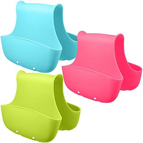 AIFUDA - Juego de 3 cestas de silicona para fregadero, organizador de almacenamiento para la cocina (azul, verde, rosa)