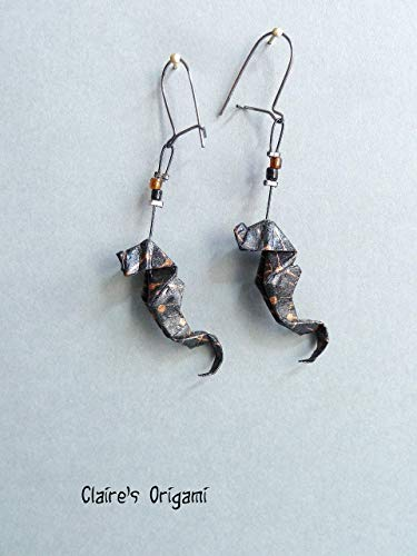 Schwarz und Kupfer Seepferdchen Origami Ohrringe/im gefaltetem Papier/Geschenk für Frauen Handgemacht