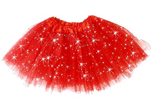 Rok - tule - meisje - rood - rok - carnaval - 2 lagen - dans - ballerina - accessoires - tutu - kleding - een maat - 3/8 jaar - idee verjaardag kerstcadeau glitter