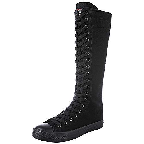 wealsex Damen Modisch Knie Hoch Schnüren Segeltuch Stiefel Rein Weiß Schwarz Leinenschuhe Reißverschluss Tanzschuhe Sneakers Mädchen Schwarz (EU 40=CN 41)