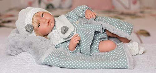 Puñecas Guca pop maan 46 cm jurk blauw met witte stippen, rompers en deken met grijs haar, meerkleurig (895)