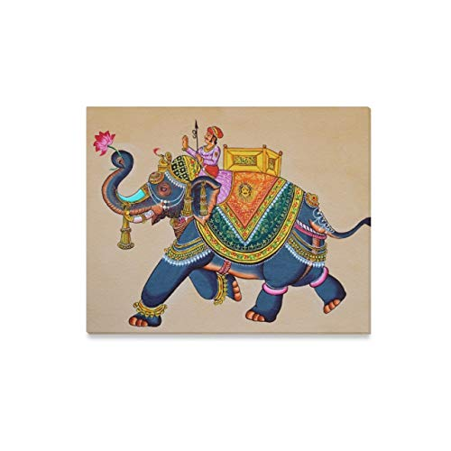 Canvas Prints Wall Art Traditional Indian Rajasthani Wall Painting Elephant Framed Canvas Wall Arthome Artwork Decoration for Living Room,20'(l) X 16'(h)