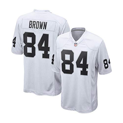 Rugby-Trikot Antonio Brown # 84 Las Vegas Raiders Fußballtrikot, Unisex-Sport Kurzarm-Sweatshirt Fitness Atmungsaktive Stickerei Wiederholbare Reinigung White-XL(185cm~190cm)