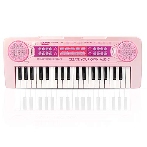 BIGFUN Kids Piano, 37 Keys Multi-Function Charging Electronic Educational Toy Organ for Kids Toddlers Children with Microphone Rated Charging Capacity(Pink)