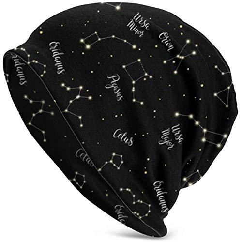 Speciale winkel naadloos patroon sterrenbeelden Orion Ursa Major gebreide muts heren gebreide muts beanie gebreide muts doodshoofd heren volwassenen