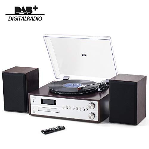 Shuman MC-265DBT Centro de Música de 7 en 1, Altavoces Estéreo, Reproductor de LP (33 y 45 RPM), Reproductor de CD, Radio Dab +, Radio FM, Reproducción USB, Grabación / Bluetooth, Marrón Oscuro
