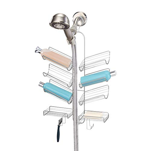 """iDesign Verona Metal Wire Hanging Shower Caddy for Hand Held Shower Heads, Space for Shampoo, Conditioner, and Soap with Hooks for Razors, Towels, and More, 14"""" x 4"""" x 25"""", Silver"""