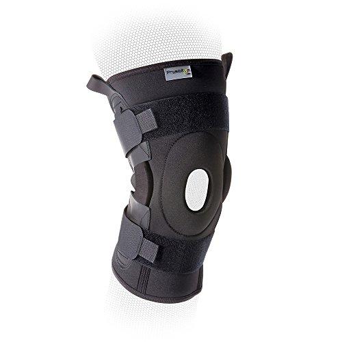 Knieorthese mit Scharnier - Stabilisierende Offene Knieorthese mit Verstellbarem Gurt und Doppelgelenk - Hilft Bei Leichter Arthritis, Schmerzen Im Knie, Schützt Die Bänder Innen und Aussen