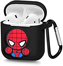 Airpods Case Spider Man Mouse Accessories Silicon Protective Charging Case with Carabiner, Compatible with Apple Airpods 1 & 2 | X.M.