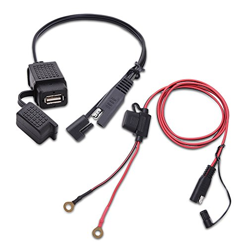 MICTUNING SAE to USB Cable Adapter Waterproof USB Charger Quick 2.1A Port with Inline Fuse for Motorcycle Cellphone Tablet GPS and More