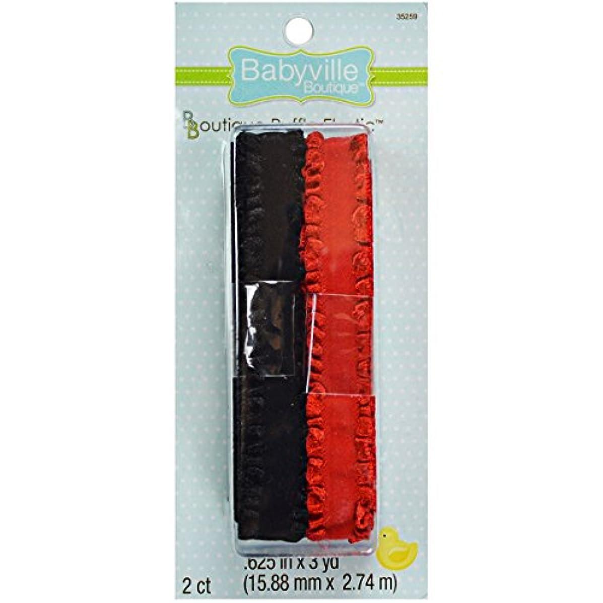 Babyville Boutique 35259 Elastic Ruffle, Red/Black