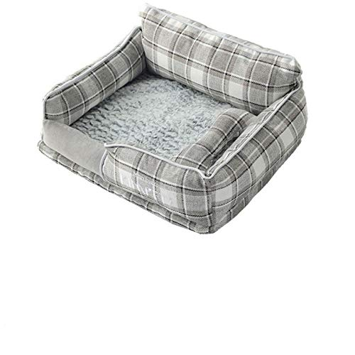 YMYGCC Pet Bed Dog Beds Warm Sleeping Cotton Puppy Bed Washable Detachable Oxford Cloth Kennel Cat Nest Bottom Waterproof Small Cat&Dog Nest 54 (Color : Plaid, Size : M)