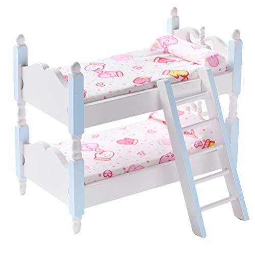Kisangel Azul 1: 12 Casa de Muñecas Escalera Cama Muebles Mini Literas Niños Dormitorio Modelo de Madera Juguetes Coloridos Decoración de La Sala de Estar Mini Cama de Madera